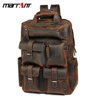 Marut Men's Bag Retro Crazy Horse Leather Men's Backpack Full Grain Leather Backpack Leather Travel Backpack Men's 3506