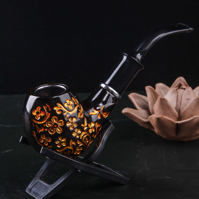 Black Carved Resin Bakelite Smoking Pipe Set Retro Tobacco Pipe With Filter Send Pipe Tools Smoke Accessories CF292