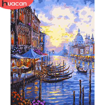 HUACAN DIY Pictures By Numbers Venice Scenery Kits Drawing Canvas HandPainted Oil Painting By Number Home Decoration