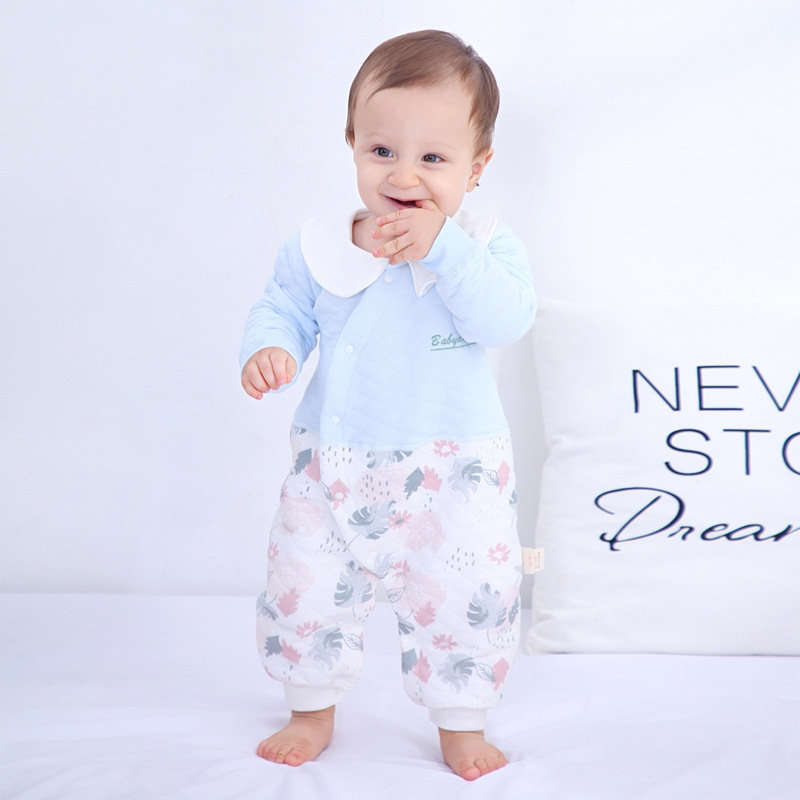 Baby Onesie Spring, Autumn And Winter Newborns Clothes Padded Warm Crawling Clothes 0-Year-Old 1 Baby Rompers Pure Cotton Autumn