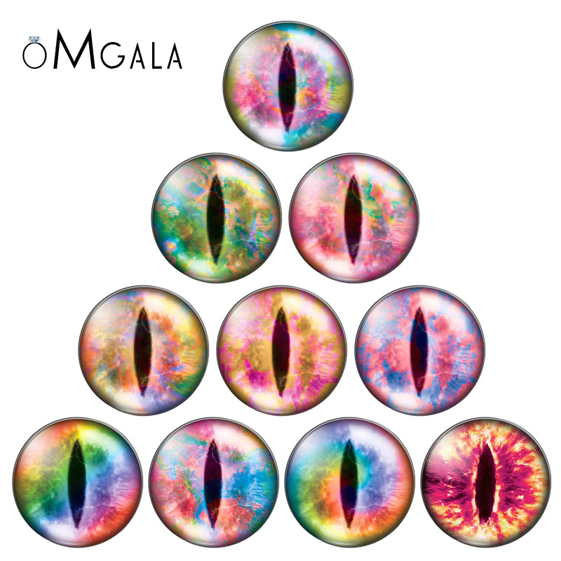10pcs Colorful Dragon Cat Toys Eyes 8/10/12/14/16/18mm/20mm/25mm Round photo glass cabochon demo flat back Making findings
