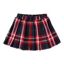 Модные осенние детские короткие юбки-пачки в клетку с эластичной резинкой на талии для маленьких девочек повседневные плиссированные юбки