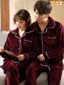Pajamas Men Nightwear Cardigan Sleepwear Couple Coral-Fleece Homme Winter Warm Long-Sleeved