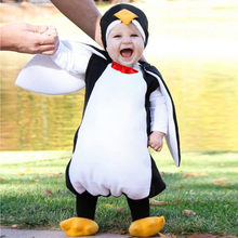 New Born Baby Romper Animals Customes Clothes Newborn Infant Baby Boys Girls Cosplay Cartoon Penguin Romper Footwear Outfits(China)