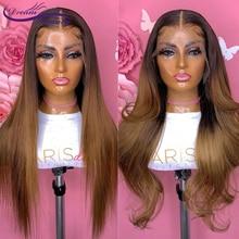Предварительно выщипанные отбеленные узлы Омбре #1B/30 прямые волнистые парики 13x4 кружевные передние человеческие волосы парики для женщин б...