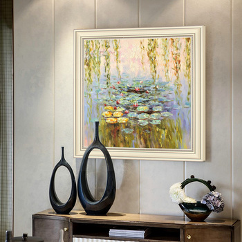 Hand-painted Oil Painting Home Wall Decoration Entrance Hallway Hallway Mural Paintings Continental Abstract Lotus Pond