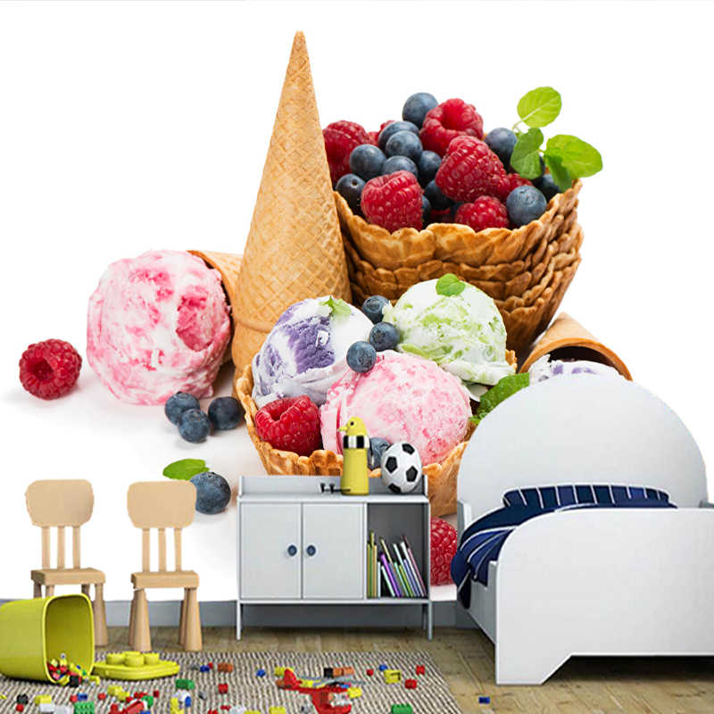 Custom 3D วอลล์เปเปอร์,ลูก Ice cream cone อาหารภาพจิตรกรรมฝาผนังสำหรับห้องครัวห้องรับประทานอาหารพื้นหลังตกแต่งวอลล์เปเปอร์กันน้ำ