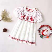 Navidad ciervos vestido infantes niños bebé niñas PUNTO DE Navidad suéter princesa vestido de fiesta de Navidad trajes de ropa de bebé niña invierno