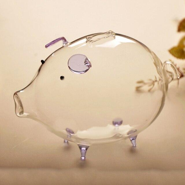 Tirelire cochon tirelire boîte déconomie de pièces mignon verre Transparent Souvenir cadeau danniversaire pour les enfants enfants