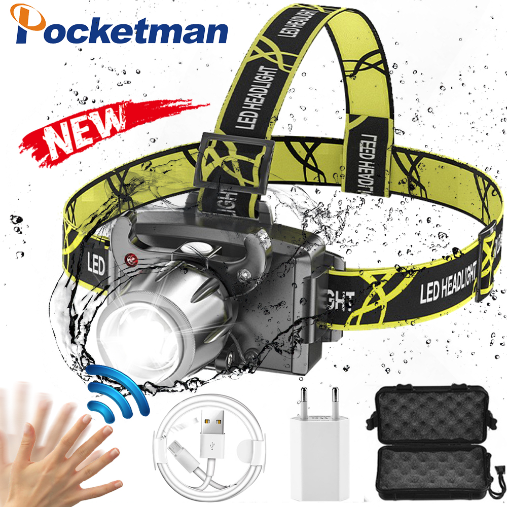Super Bright LED Headlamp Zoom Headlight with Built-in Battery USB Rechargeable Head Lamp Induction Head Front Light 1