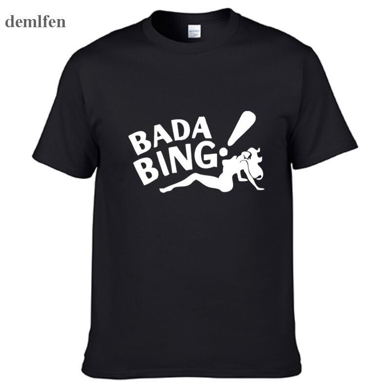 The Sopranos Bada Bing Fashion Men's T-shirts Short Sleeve 100% Cotton White T Shirts Man  Tops Tees Clothing