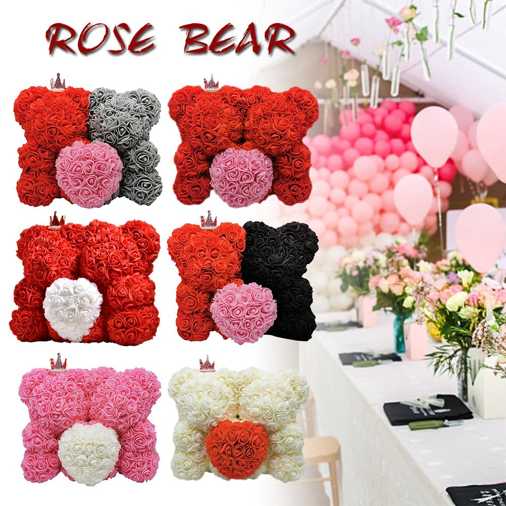2020 Romantic Valentine's Day Rose Bear Gift Birthday Present Wedding Artificial Flowers Best Gift For Wife & Girlfriend