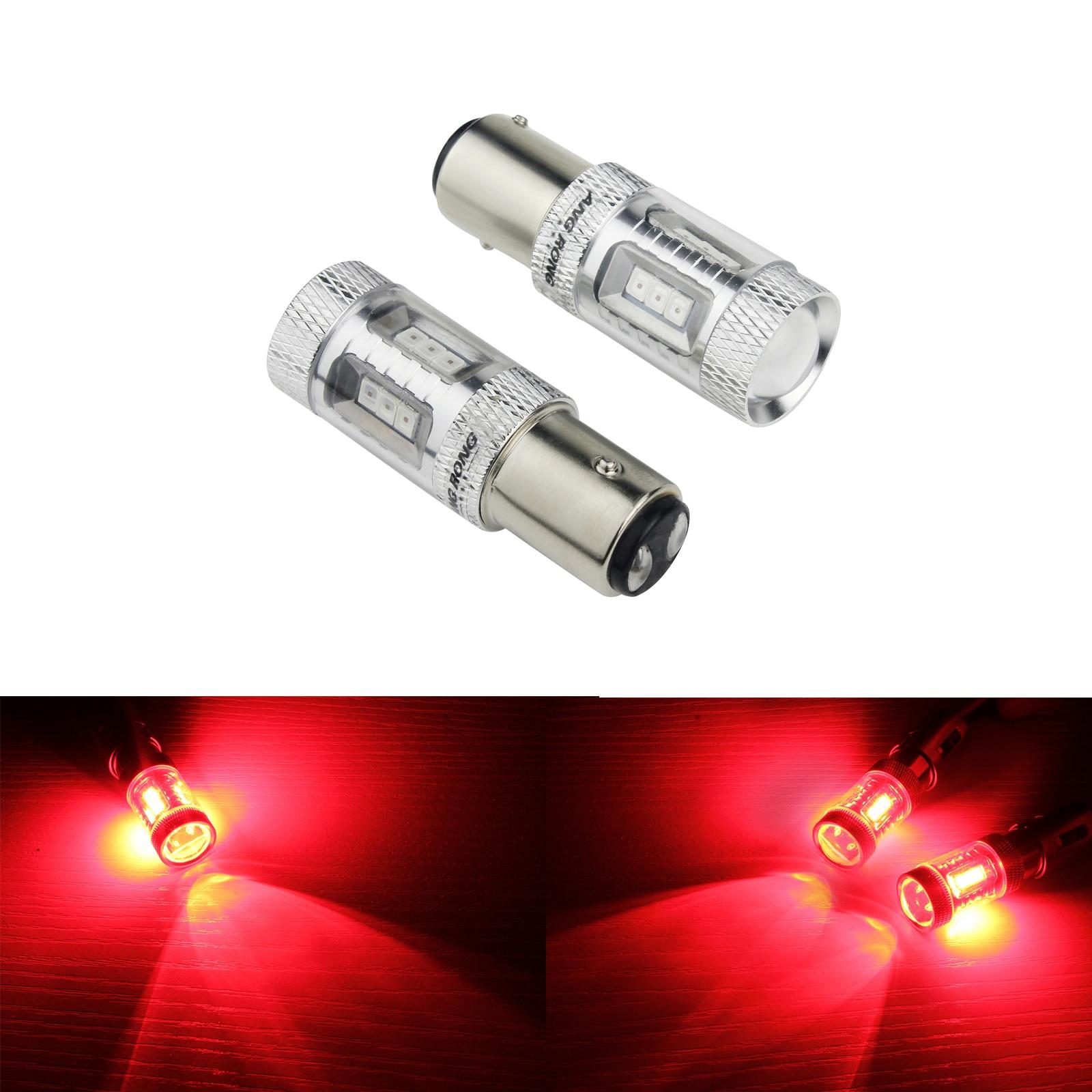 2x P21//5W 380 1156 BAY15D 5050 LED SMD Brake Tail Rear Car Bulbs Xenon White