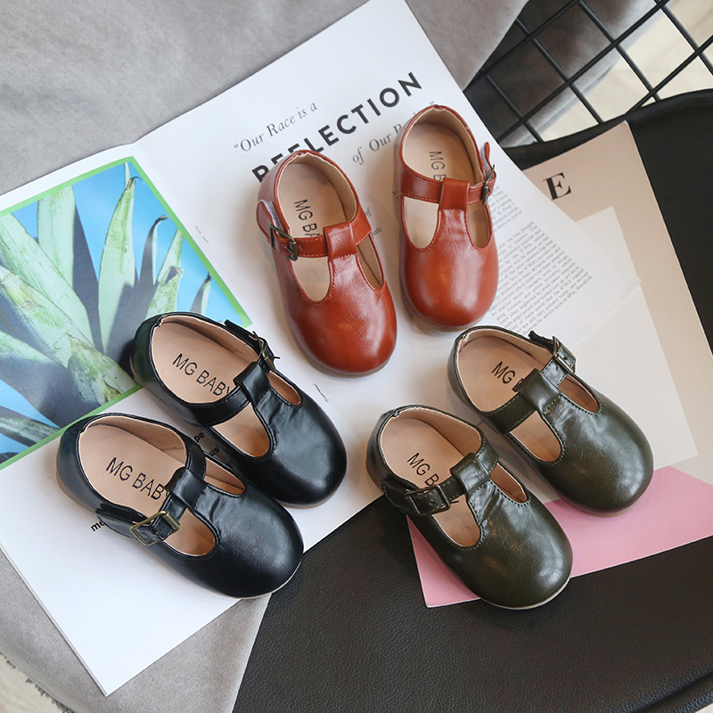 2020 Autumn New Children Shoes Leather British Style Girls Leather Shoes T-tied Buckle Baby Soft Bottom Dresses Shoes D03191