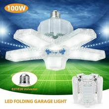 New 80W/100W Led Garage Light 5 Leaf Deformation High Bay Lamp E26/E27 Induction Foldable Ceiling Lights For Warehouse Lighting