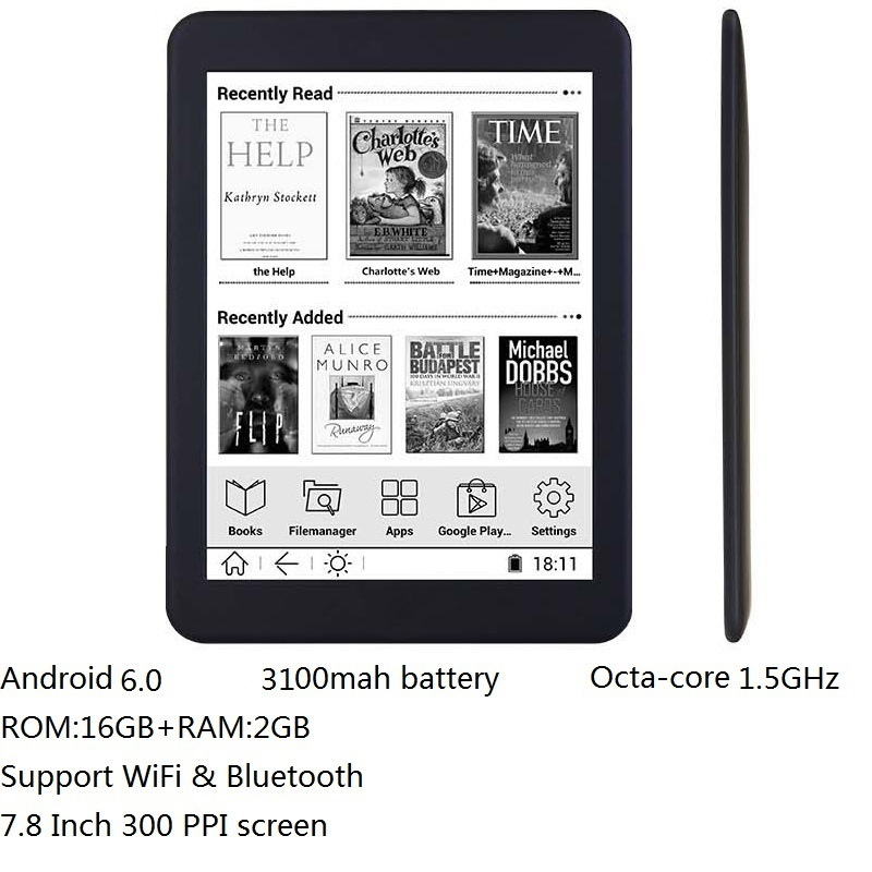 16GB E book 7.8 inch touch HD screen E-book reader Octa-core android WiFi Ereader Bluetooth audio E-ink 3100mah battery+earphone image