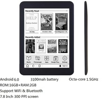 16GB E book 7.8 inch touch HD screen E book reader Octa core android WiFi Ereader Bluetooth audio E ink 3100mah battery+earphone