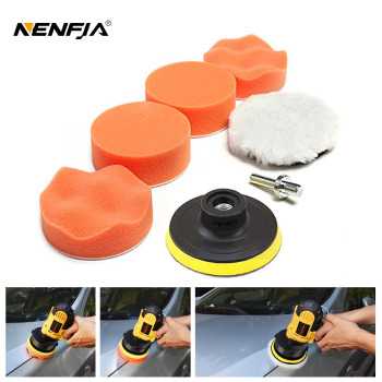 7pcs 3 Car Sponge Polishing Pad Set Polishing Buffer Waxing Adapter Drill Kit for Auto