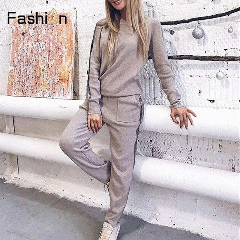 2020 Women's Sets Stripe Sweaters Two Piece Set Top and Pants Autumn Winter Women Tracksuit Outfits Soft Knitted Suit Clothes