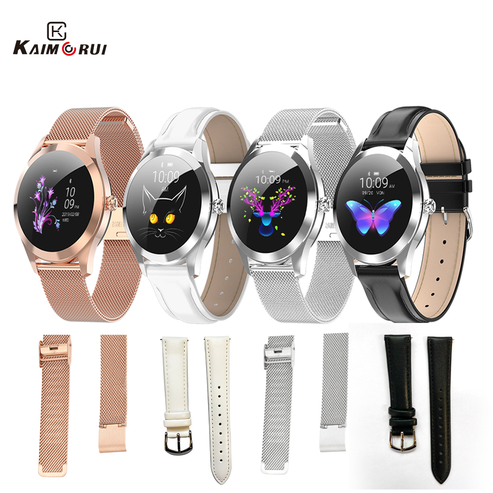 KW10 KW20 Smart Watch Strap High Quality Leather Band Stainless Women Watch Band For Smartwatch KW10  Watch  Replacement Band