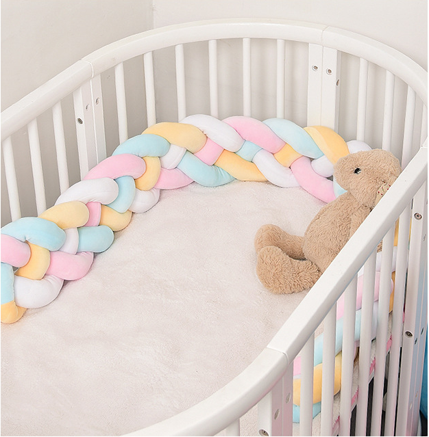 1M/1.5M/2M/2.5M/3M/3.5M/4M Baby Bumper Bed Braid Knot Pillow Cushion Bumper For Infant Crib Protector Cot Bumper Room Decor