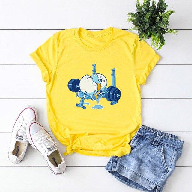 Plus Size S-5XL Funny Egg Print T Shirt Women Shirts 1186-Dark Gray M