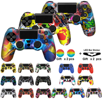 For PS4 Controller Gamepad Camo Silicone Cover Rubber Skin Grip Case Protective For Playstation 4 Joystick with led light bar|Cases| |  -