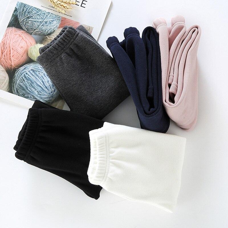 Girls Warm Elastic Waist Cotton Leggings Pants Winter Thickening Fleece Children's Long Trousers Solor Color Warm Girls Legging 2