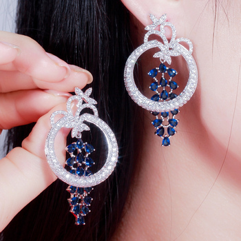 Round Dangle Long Royal Blue Earrings