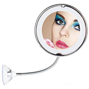 Regulowana dioda lustro lustro do makijażu z oświetleniem LED Vanity lustra obrotowe lusterko kosmetyczne 10X lustra powiększające światło XA83T tanie i dobre opinie Wyposażone Plastic+Glass Podświetlany Makeup Mirror Magnifying shaving mirror bathroom 10x magnifying led lighted makeup mirror