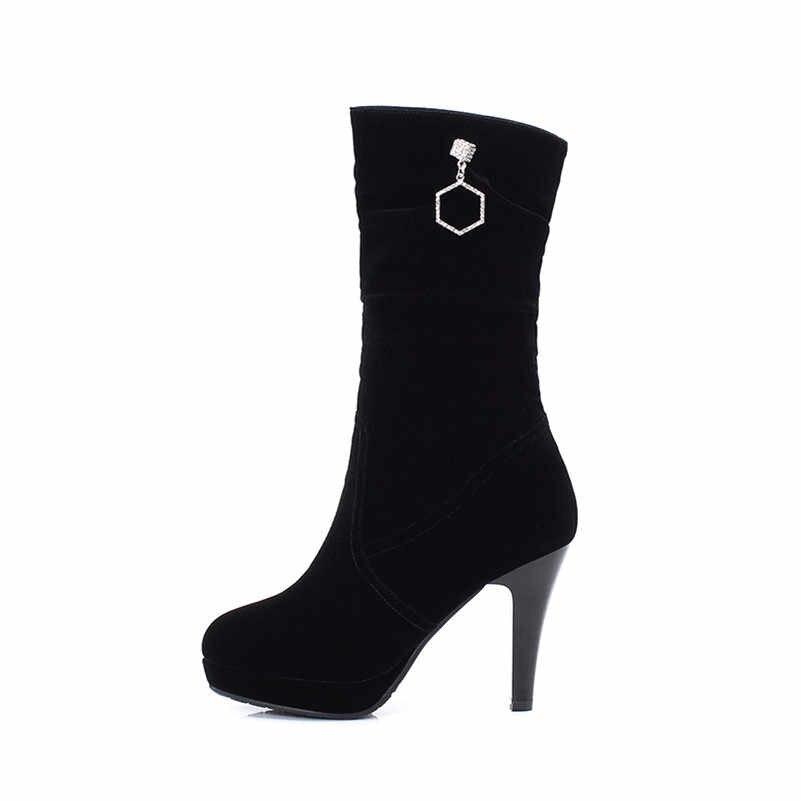 Meotina kış orta buzağı çizmeler kadınlar üzerinde kayma platformu ince topuklu çizmeler pilili Extreme yüksek topuklu ayakkabı kadın sonbahar boyutu 34-39