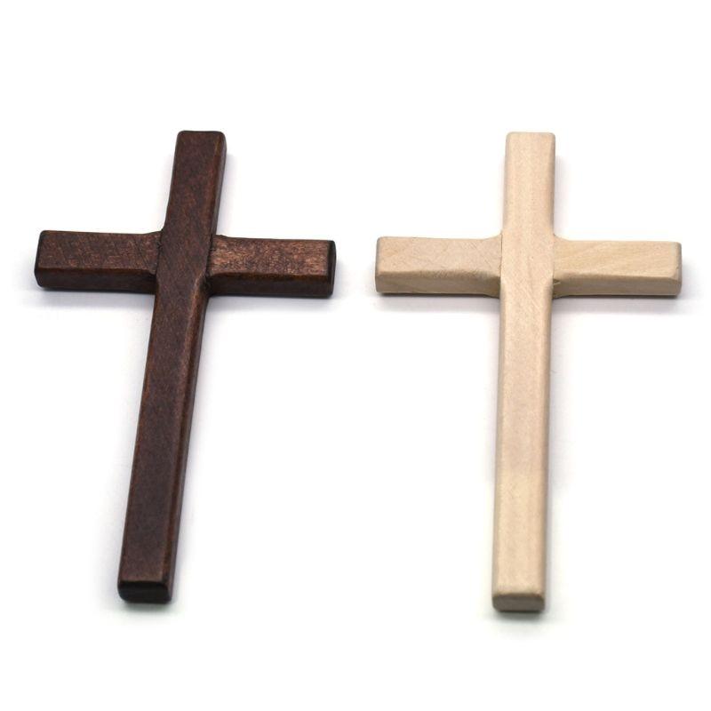 2pcs Handmade Wooden Crosses Crucifix Jesus Christ Ornaments Religious Charm Pendant Making