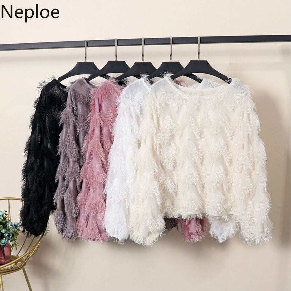 Neploe Thin Sweater Jumper Wave Korean-Fashion Pullovers O-Neck Female Long-Sleeved Bottom