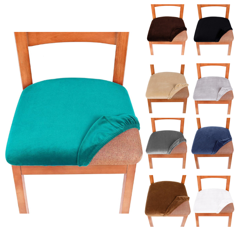 Stretch Velvet Dining Room Upholstered  Cushion Chair Seat Covers Removable Slipcovers With Washable Furniture Protector
