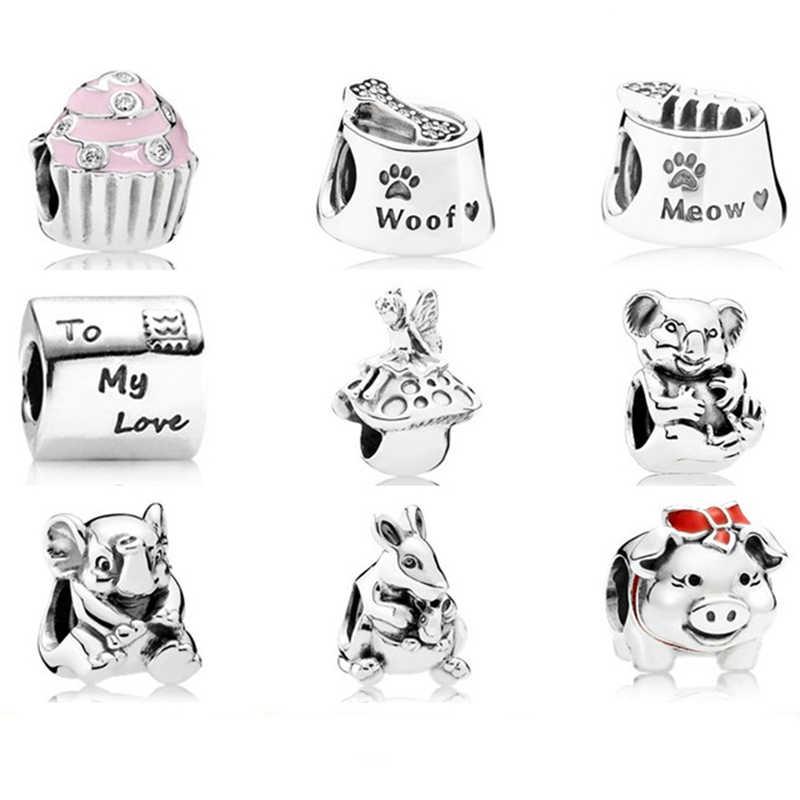 XIAOYI 100% подлинное серебро 925 пробы животное цветок свинья бусины Шарм с прозрачными фианитами Бусины Подходят Браслет «сделай сам» Подвески подарок ювелирные изделия