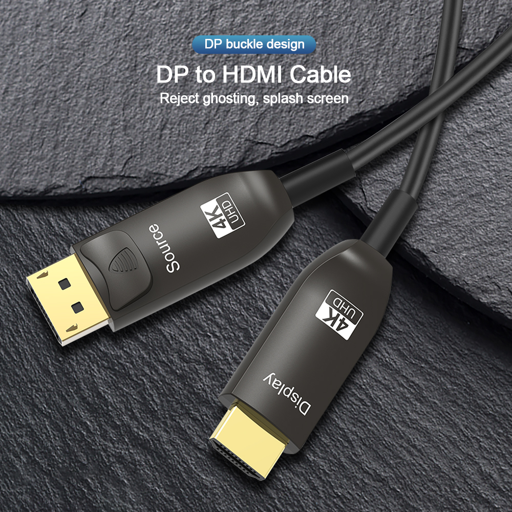 Fiber Optic DP to HDMI-compatible Cable 4K 60Hz 21.6Gbps Ultra High Speed HDR For HD TV Box Projector 10m 50m 100m DisplayPort