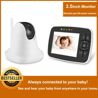 3.5'' High Resolution Baby Monitor Infrared Night Vision Wireless Video Baby Sleeping Monitor with Remote Camera Pan Tilt Zoom