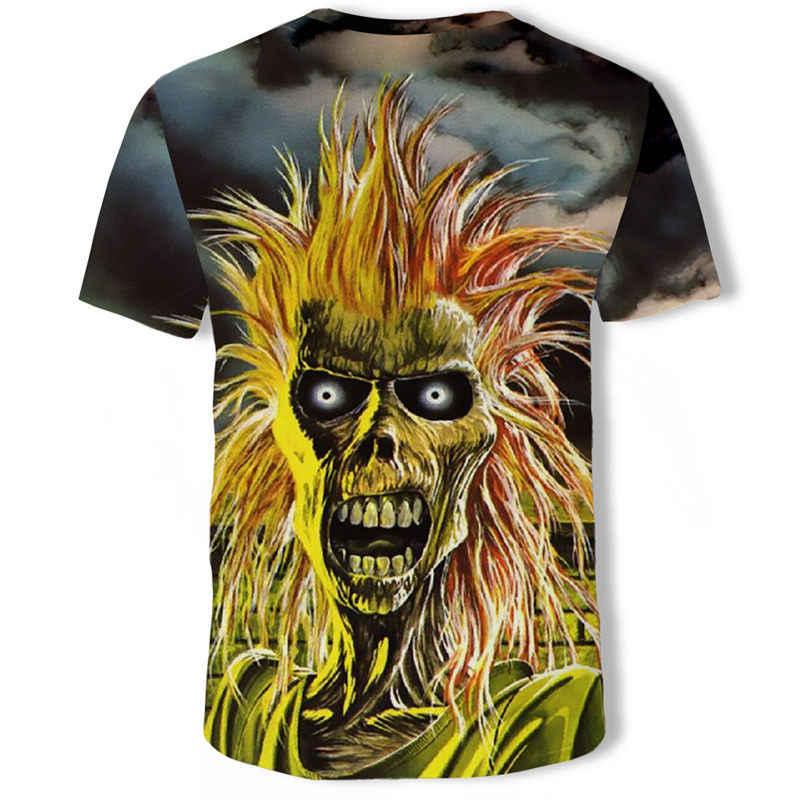 Uomini T Camicette di Disegno di Modo Del Manicotto Del Bicchierino Casual Magliette e camicette Del Cranio/Rock/Metal/Death/Punk A Vapore/ reaper/Drago 3D Stampato T-Shirt Tee Fresco