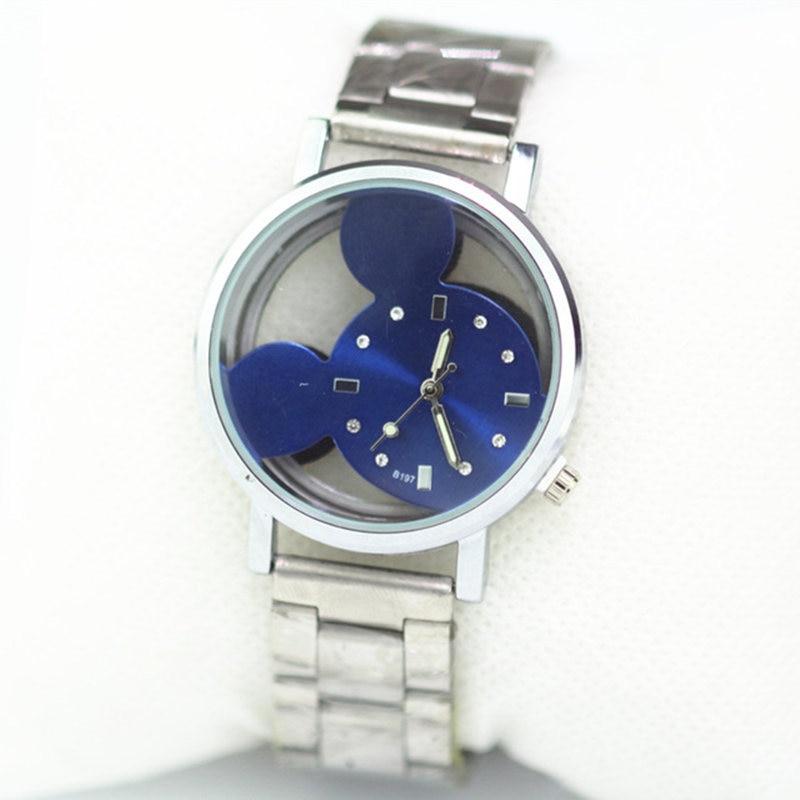 Reloj mujer New Hot luxury brand Transparent Hollow Mickey Cartoon women watch Metal Mesh Stainless Casual Кварц Часы Hodinky