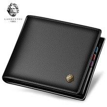LAORENTOU Wallet Men 100% Genuine Leather Short Wallet Vintage Cow Leather Coin Purse Casual Wallets Purse Standard Card Holders
