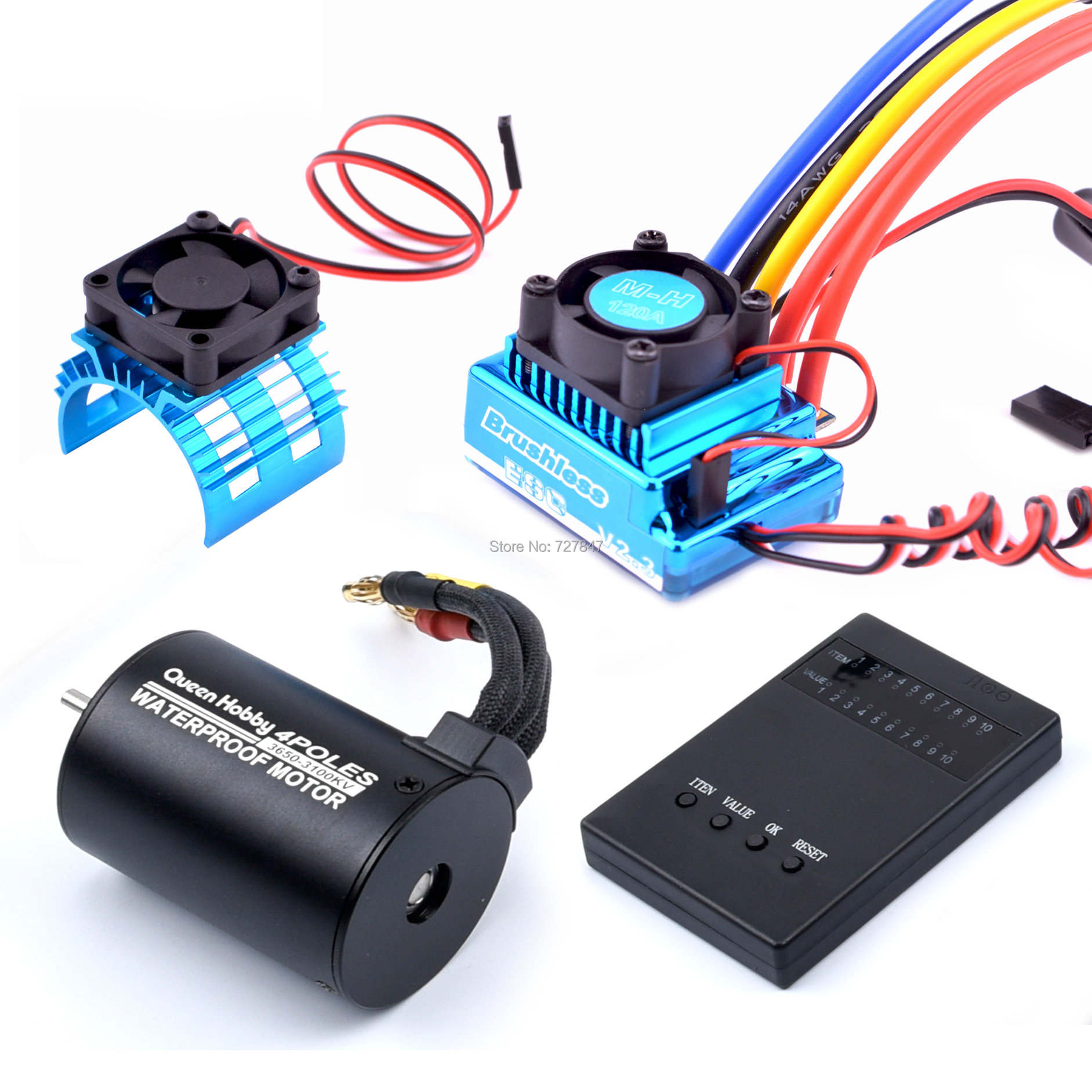 3650 3100KV <font><b>Brushless</b></font> <font><b>Motor</b></font> & 45A 60A 80A 120A <font><b>Brushless</b></font> ESC with Program Car Combo for 1:10 <font><b>RC</b></font> Car <font><b>RC</b></font> Boat Part image