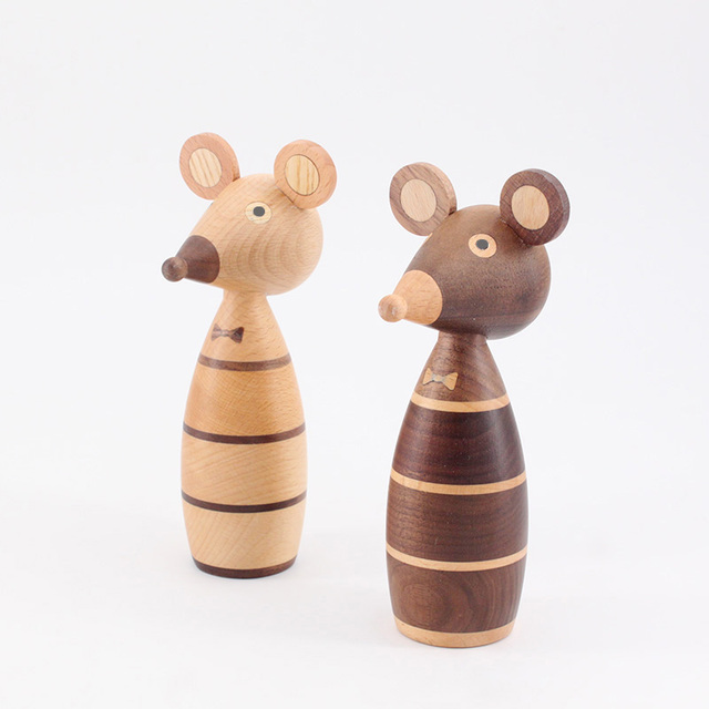 Wooden ornaments couple mouse creative home decoration porch puppet coffee shop decorative arts and crafts gift 4