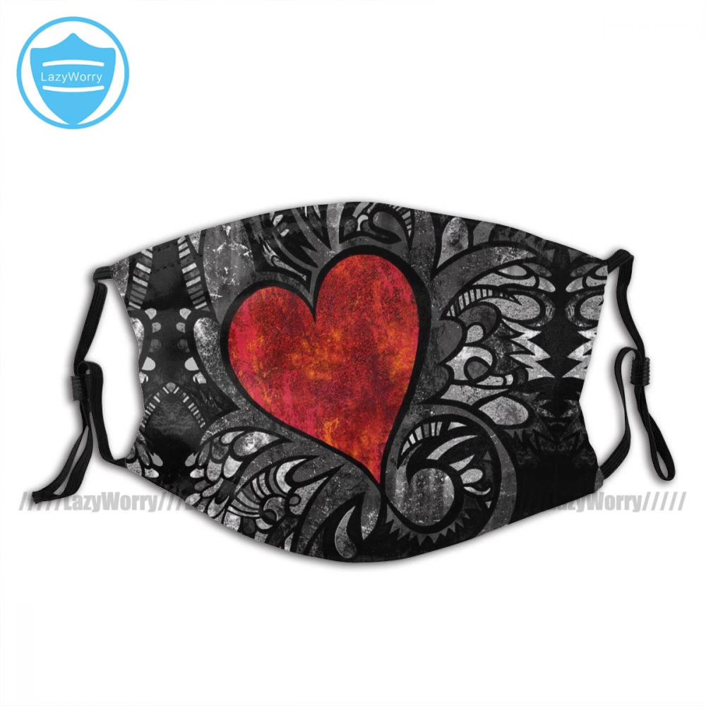 Wholesale Dust Washable Heart Face Mask Funny Cloth Adults Mouth Facial Mask With Filter
