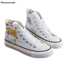 Sailor Moon Shoes Anime Chibiusa Cosplay High Platform Shoes Casual Female Canvas Shoes Girls Trainers Lace Up Shoes Footwear