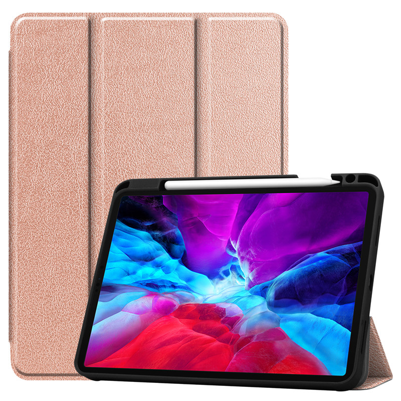 Rose Gold Green Painted Case For iPad Pro 12 9 Case 2020 PU Leather TPU Back Stand Smart Cover