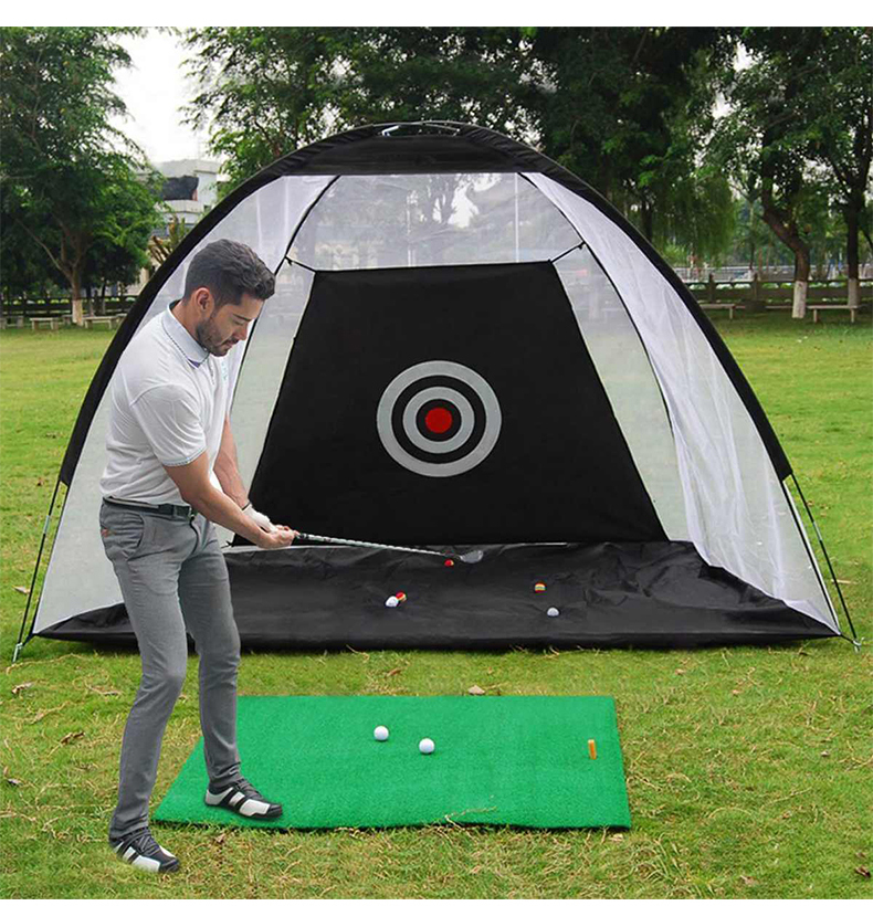 Indoor Outdoor 2M Golf Practice Net Tent Golf Hitting Cage Garden Grassland Practice Tent Golf Training Equipment Mesh XA147A