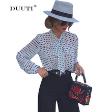 цены на M-3XL Plus Size Women Bow Tie Tops Wild Style Polka Dot Design Vintage Tops V-neck Chiffon Autumn Long Sleeve Casual Blouses D35 в интернет-магазинах