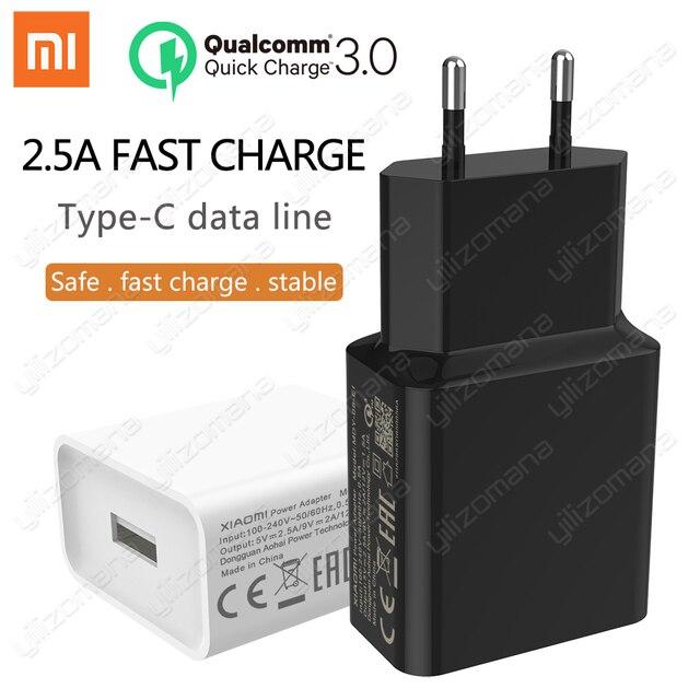 Xiaomi オリジナル充電器 2.5A 9 v/2A eu クイック高速 qc 3.0 タイプ c usb データケーブル旅行充電アダプタ mi 5 6 8 redmi 注 7