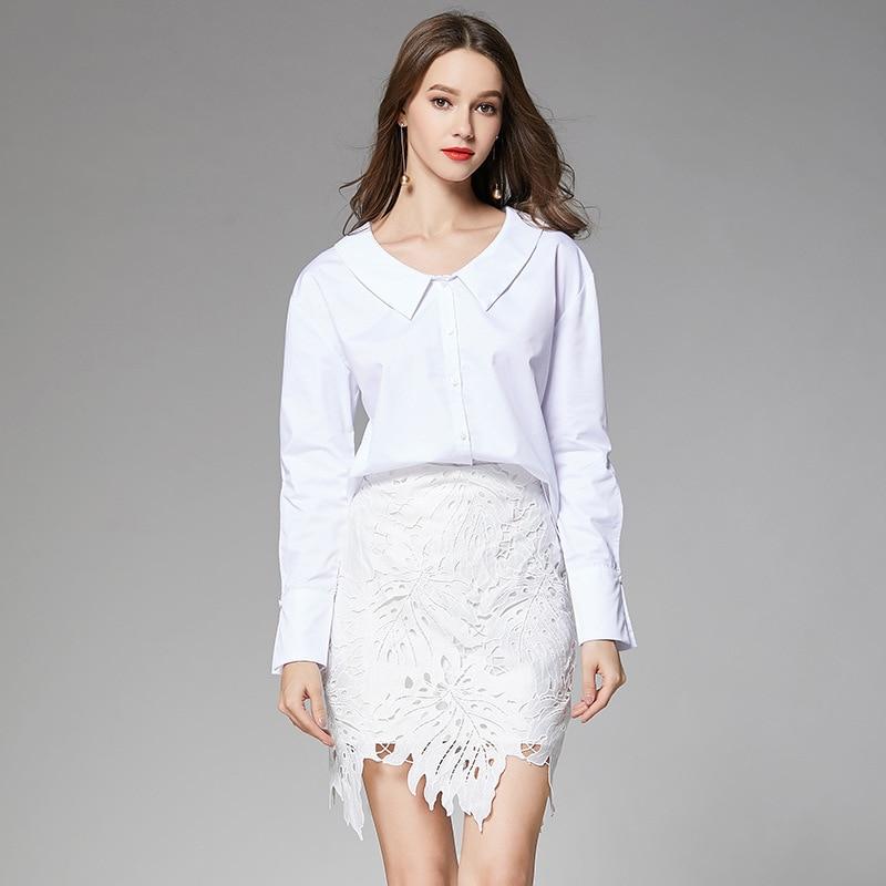 2019 Spring New Style Crocheted Flowers Pierced Irregular Small Short Skirt Solid White Slim Fit Mini Skirt