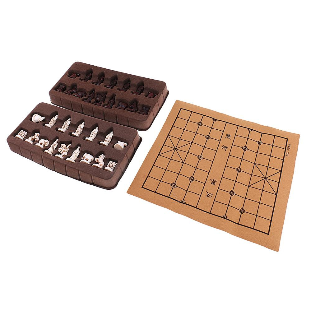 New Vintage Stereoscopic Chess Folding Imitation Leather Chess Board Chinese Traditional Chess Xiangqi Handicraft Pieces Set